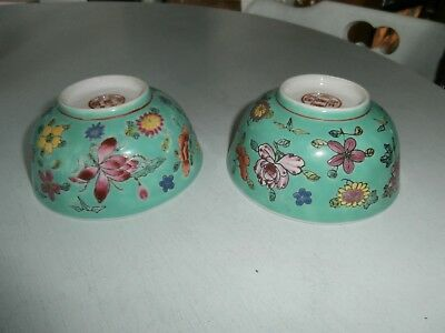 Rare Stunning Pair Chinese Aqua Hand Painted Floral Rice Bowls Worth A Look