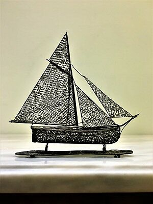 antique persian islamic Maltese middle eastern filigree solid silver boat # 37 g