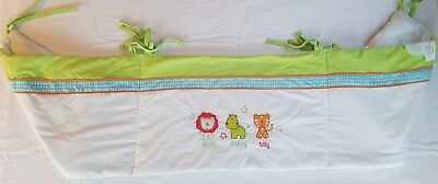 Cot Bumper Animal Theme Green And White