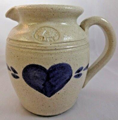Vintage 1980s Pinewood Valley Salt Glaze Pottery Jug Pitcher Cobalt Blue Heart