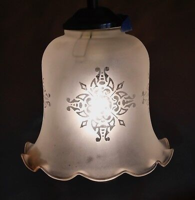Victorian style acid etched bell shaped opaque glass gas lampshade / pendant