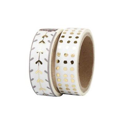Washi Tape, W: 15 mm, white, gold, hearts and dots - foil, 2x4m [HOB-24767]