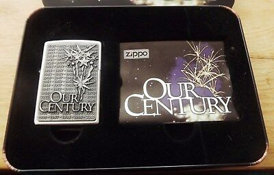 The Last Zippo Collectable Of The 20Th Century 'our Century' Zippo New In Tin