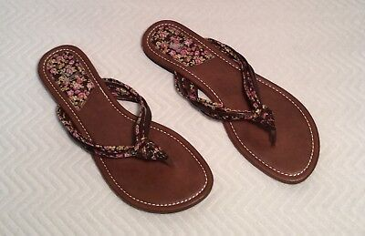 80233e444a944d Women s Brown KALI SANDALS Size 11 Footwear Shoes Flats Flip Flops Floral  Flower