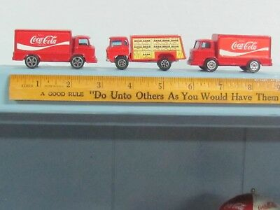 3-Match Box Style Minature Coca Cola Delivery Trucks