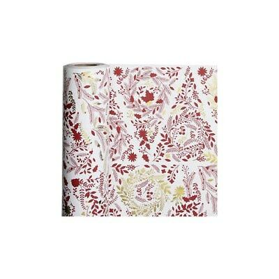 Wrapping Paper, W: 50 cm,  80 g, white, gold, red, christmas trees, 100m [HOB-19