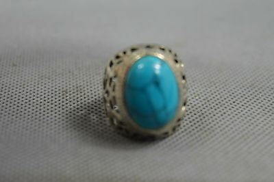 China Collectable Decor Miao Silver Carve Flower Inlay Turquoise Ornaments Ring