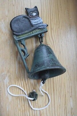Vintage Style Cast Iron Bell Black Hand Painted Cat Wall Mounted