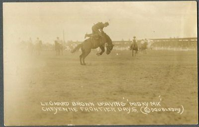 "Doubleday Rodeo RPPC - Cheyenne Frontier Days - L. Brown Leaving ""Misky Mix."""
