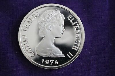 1974 Proof Cayman Islands $5  ~ Km# 8 ~ 92.5% Silver ~ Nice Coin!!