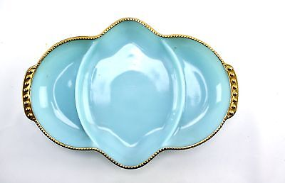 Vintage Atomic Fire King Turquoise Blue & Gold Beaded Divided Relish Tray