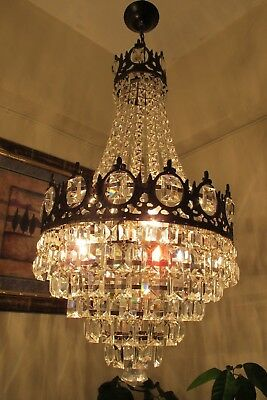 Antique Vnt.BIG French Basket style Square Crystal Chandelier Light 1940's 14 in