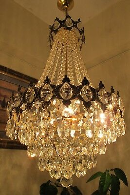 Antique Vintage French Basket style Crystal Chandelier Light Lamp 1940's 16 in