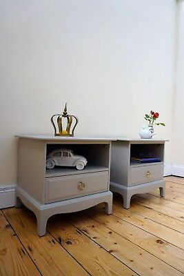 Lovely STAG Bedside tables cabinets pair painted in Laura Ashley Grey side table
