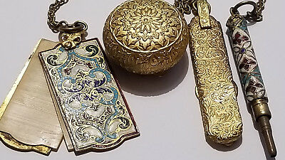 Victorian Jewelry Cloisonne Chatelaine Compact Mechanical Pencil Buttonhook