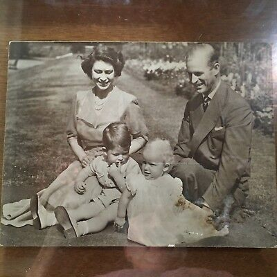 Vintage 1950's Queen Elizabeth II Prince Philip Giant Photo Card With Kids, Rare