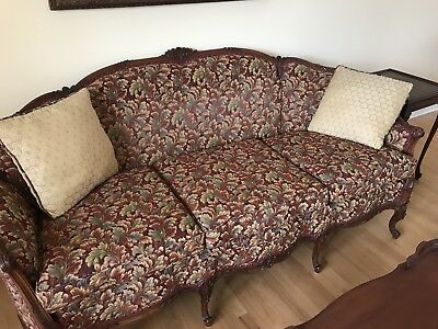 Antique Hand-carved Solid Mahogany Hardwood Sofa and Matching Chair
