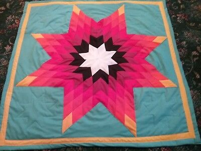 Beautiful authentic Native American Lakota Sioux baby star quilt Turquoise