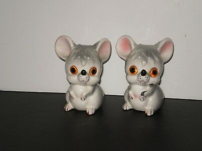 Vintage Gray Mouse Salt N Pepper Shakers  1970's