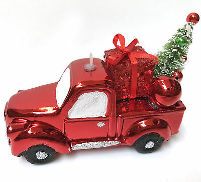 """New 5"""" Shatterproof Red Country Truck Hauling Christmas Tree Ornament Farmhouse"""