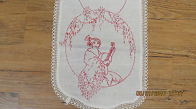 Vintage Embroidered Dresser scarf Spanish lady with a mantilla (shawl)