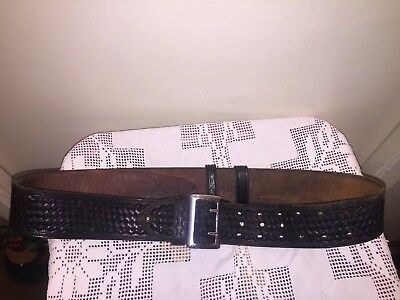 Vtg C.a. Hoffman & Son Basket Weave Black Leather Size 36 Belt~Police/security