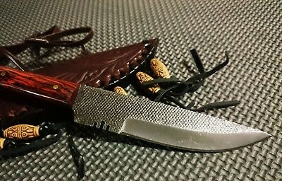 "8"" Full tang patch knife with stainless steel blade and red rose wood handle"