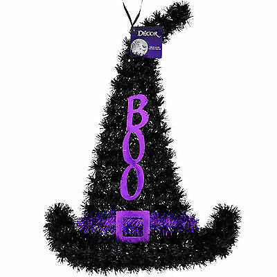 Tinsel Witch Hat Decorations, 15.5 in. Hanging Halloween Decorations w