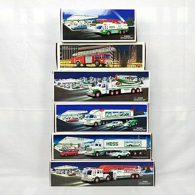 Lot of 6 Hess Toy Trucks 1992 - 2002 with Box Porsche Fire Truck Racers Airplane