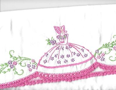 set 2 vintage embroidered crochet pillowcases