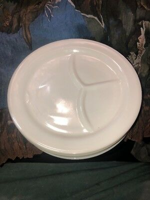 """4 Fire King Anchor White 3 Compartment Restaurant Grill Plates W/tab 9-1/2"""""""