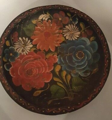 """Vintage Mexican Tole Painted Batea 11"""" Wood Tray Bowl Hand Carved Folk Art"""