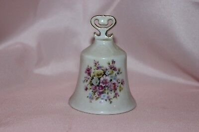 porcelain hand bells, Japan, white with pink flowers and gold trim