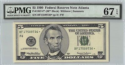 United States 1999 Fr. 1987-F* PMG Superb Gem UNC 67 EPQ 5 Dollars Atlanta Star