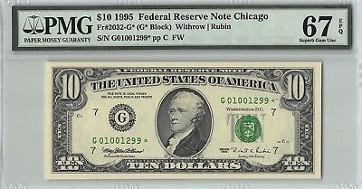 United States 1995 Fr. 2032-G* PMG Superb Gem UNC 67 EPQ 10 Dollars Chicago Star