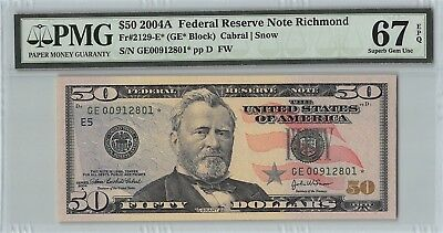 United States 2004A Fr. 2129-E* PMG Superb Gem UNC 67 EPQ $50 Richmond Star