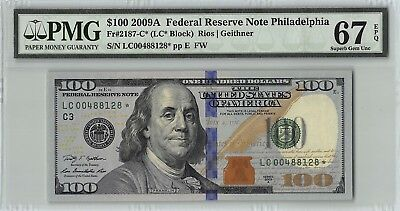 United States 2009A Fr. 2187-C*PMG Superb Gem UNC 67 EPQ $100 Philadelphia Star