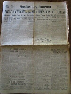 Martinsburg Journal, West Virginia, April 27, 1945, World War II, Hitler Doomed