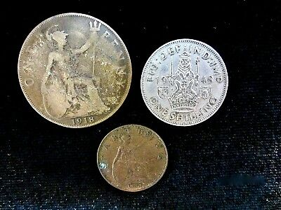 3 British Coin Georgivs ~1918 Penny ~ 1948 Shilling ~ 1933 Farthing