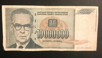 YUGOSLAVIA 10000000 10 Million Dinara, 1993, P-122, World Currency