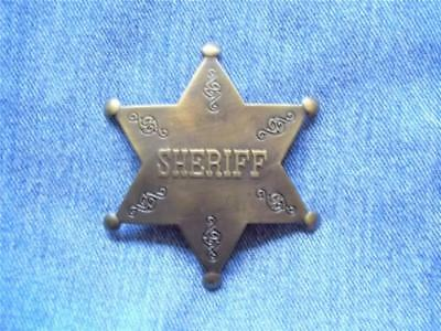 Brass Sheriff Star Badge Embossed Letters Pin Pinback Lawman Law