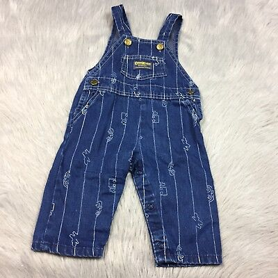 Vintage Oshkosh Bgosh Vestbak Blue Denim Car Striped Overalls Baby Boys