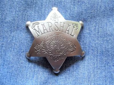 Large Marshal 6 Pt Star Badge With Unique Artistic Detail Western Law Lawman Pin