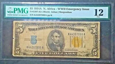 1934A $5 North Africa WWII Emergency Issue  Fr. 2307  PMG  Fine 12  net