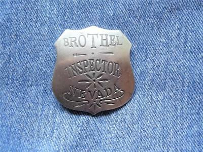 Brothel Inspector Nevada Shield Police Badge Old West Saloon Whorehouse