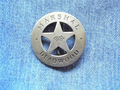 Marshal Deadwood Badge Circle Cut-Out Star Old West Western Law Lawman Pin