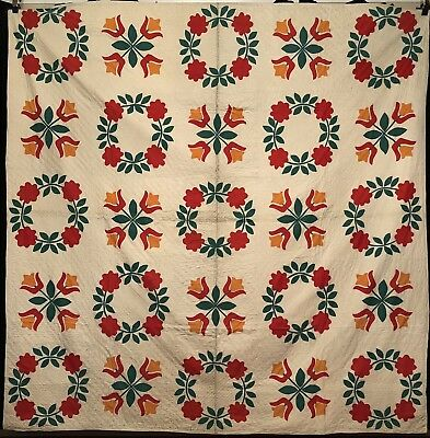 1930's Red, Green & Cheddar Wreath & Tulips Applique Album Quilt.