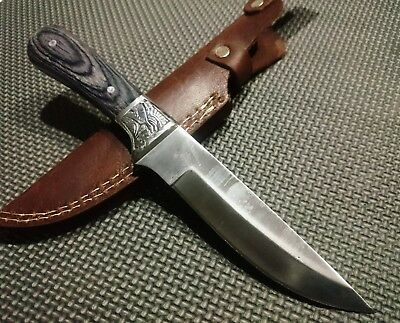 "10"" Full tang hunting knife with stainless steel blade and wood handle"