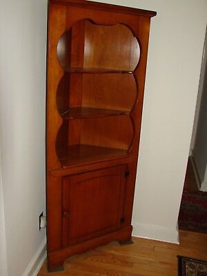 Vintage Solid Maple Corner China Cabinet Curio 3 Shelves And 1 Door Pu Only