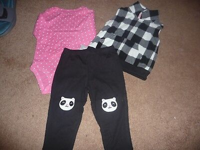 NEW NWT Carters girls 12 months 3 pc fleece vest set with panda knees